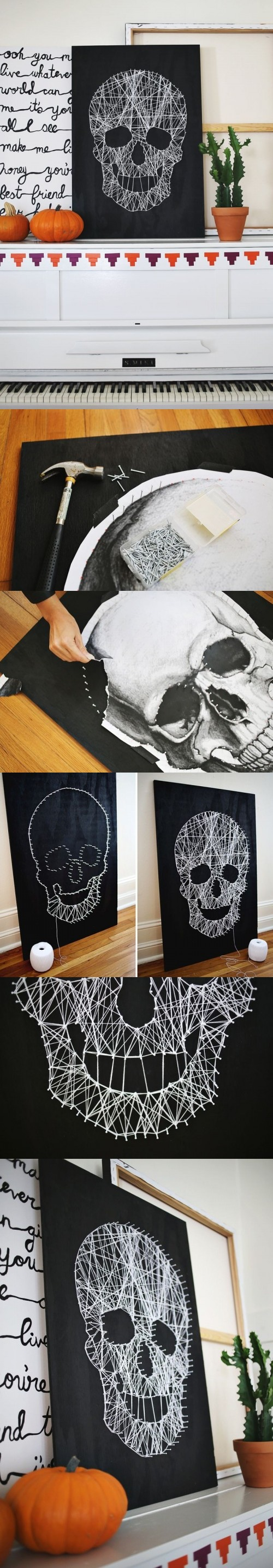 3. Black And White Skull String Art