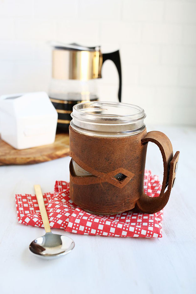 DIY Leather Mason Jar Holder