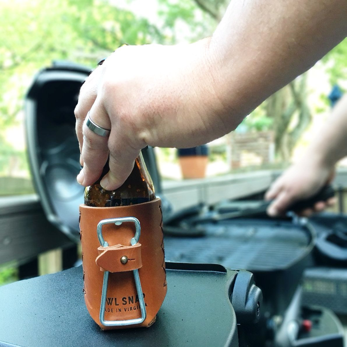 Leather Beer Holder + Bottle Opener