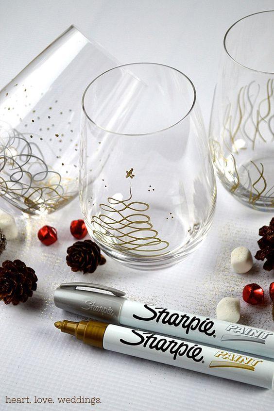 DIY Sharpie Paint Pens Christmas Glasses