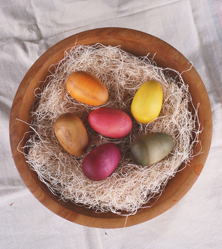 Natural Dyed Wooden Eggs