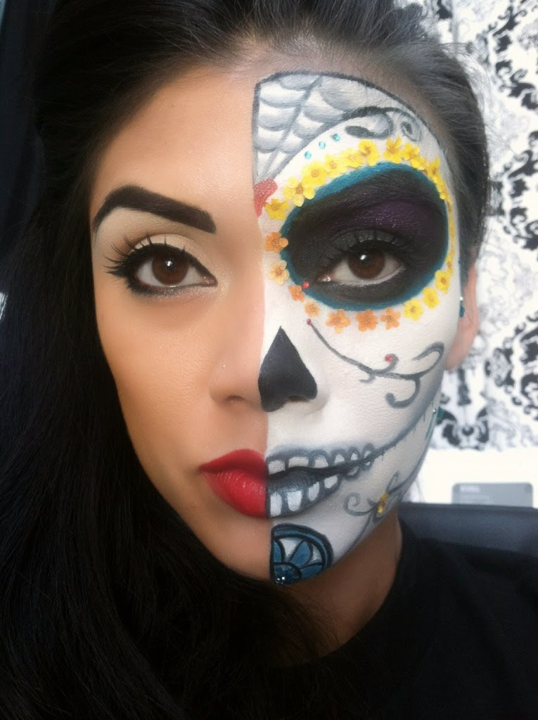 Half Face Halloween Makeup Ideas Everyone Love To Try A Diy Projects - Day-of-the-dead-makeup-tutorial-video