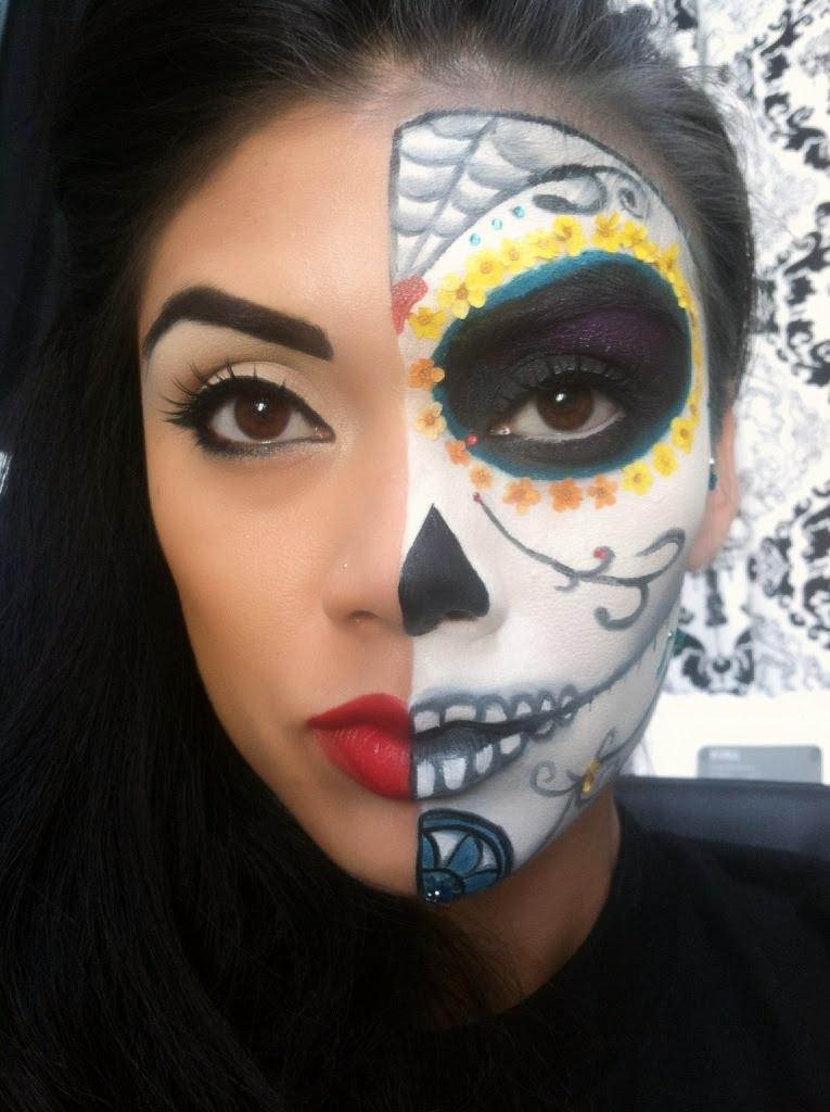 Half Face Sugar Skull Halloween Makeup