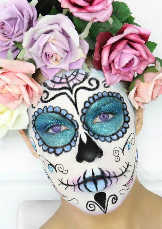 Pastel Sugar Skull Halloween Makeup