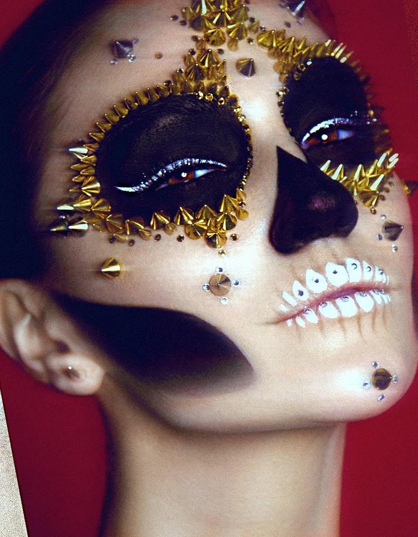 Studded Sugar Skull Halloween Makeup