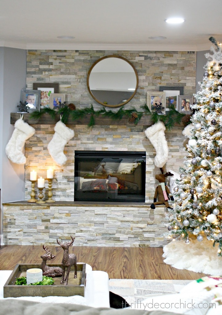 stacked stone fireplace - Fireplace Christmas Decorations