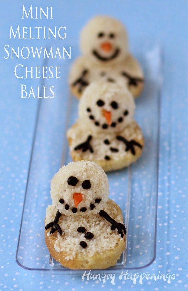 Melting Snowman Cheese Balls