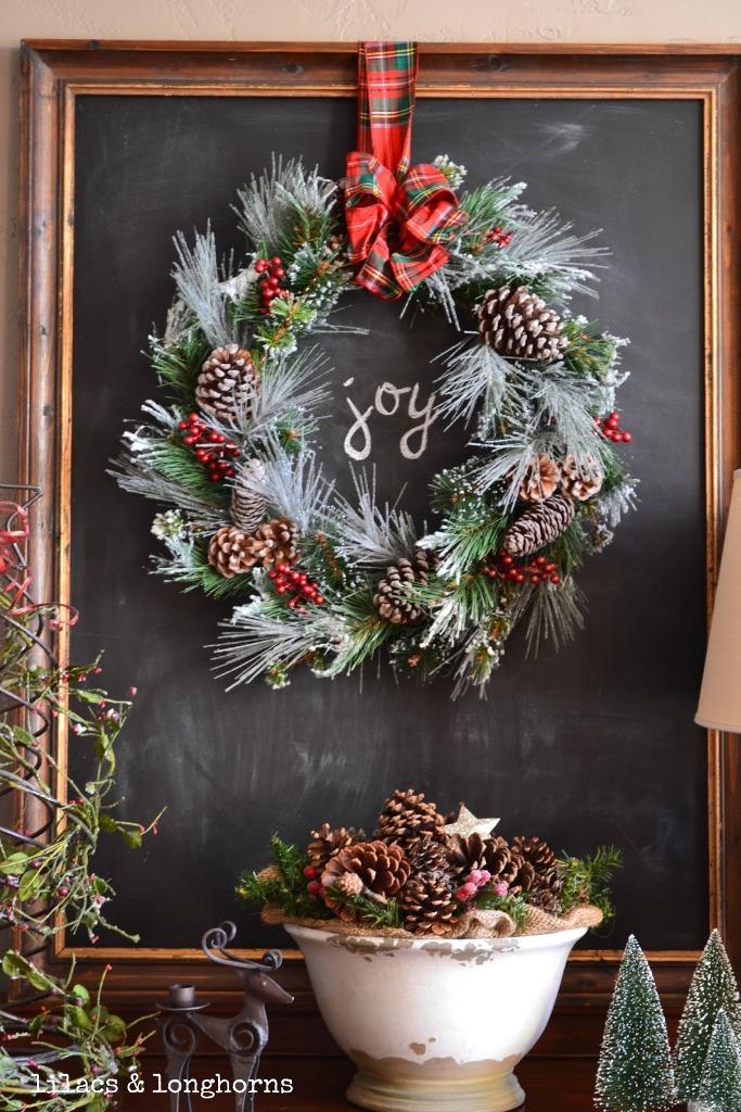Spirit Wreath with Plaid Bow