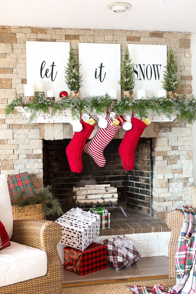 Fireplace Decoration With Greenery