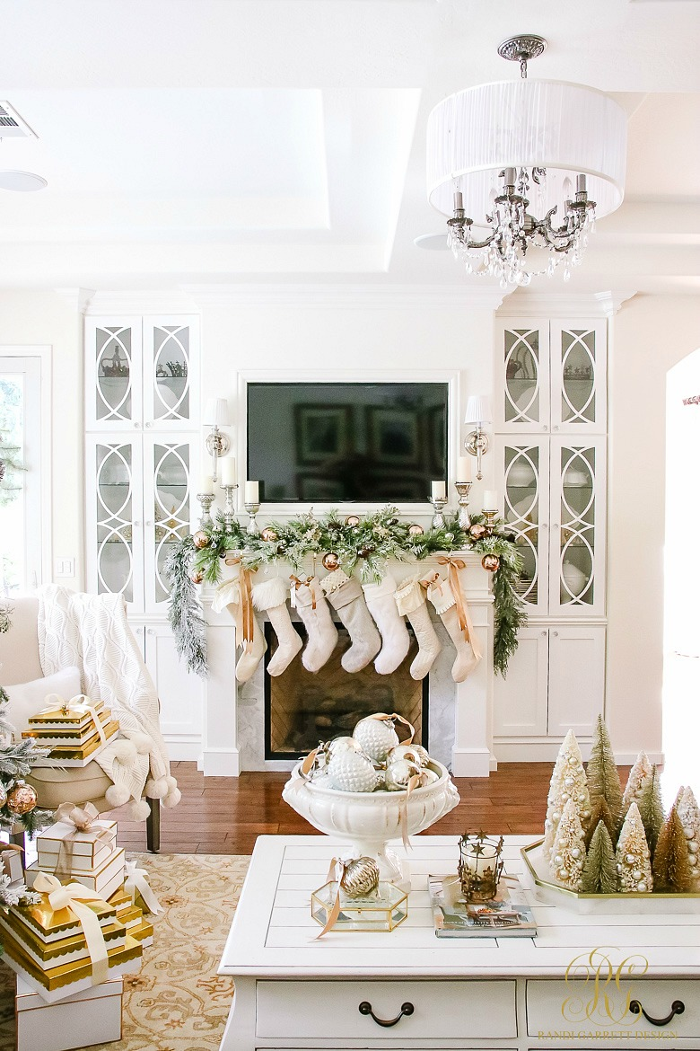 Gold & White Christmas Fireplace