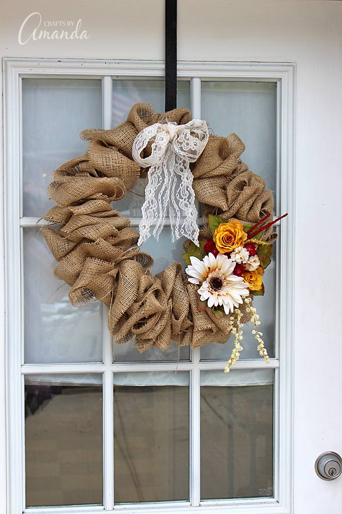 Burlap Ribbon Wreath With Flower