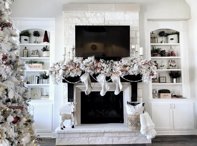 christmas fireplace with flocked garland