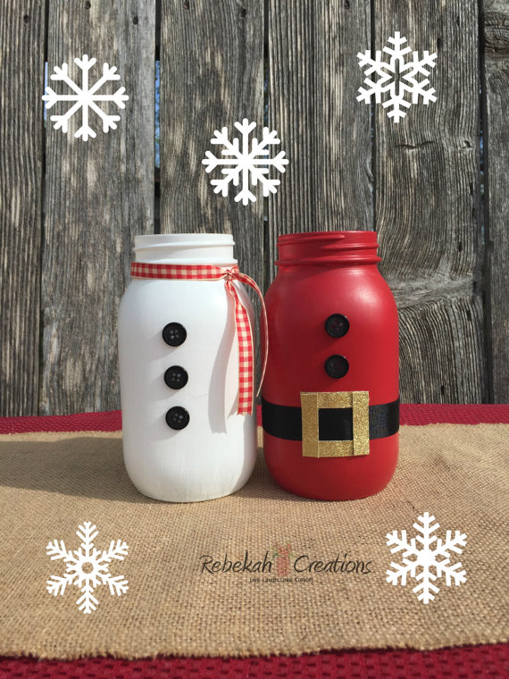 Santa Claus and Snowman Mason Jars