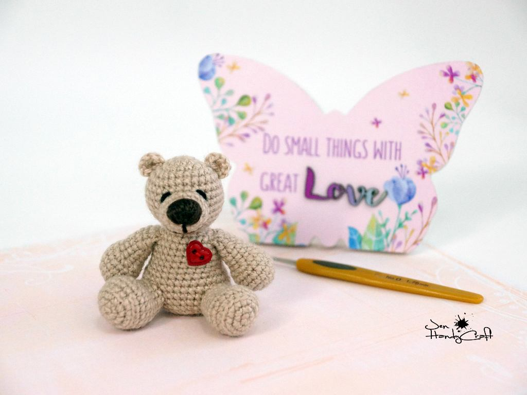 Miniature bear with heart Valentines gift for Girlfriend