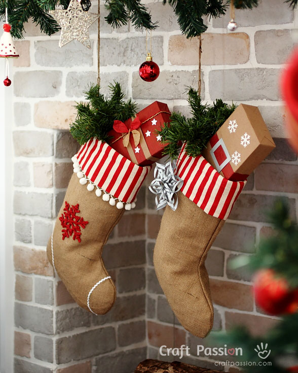 Red and White Burlap Christmas Stocking