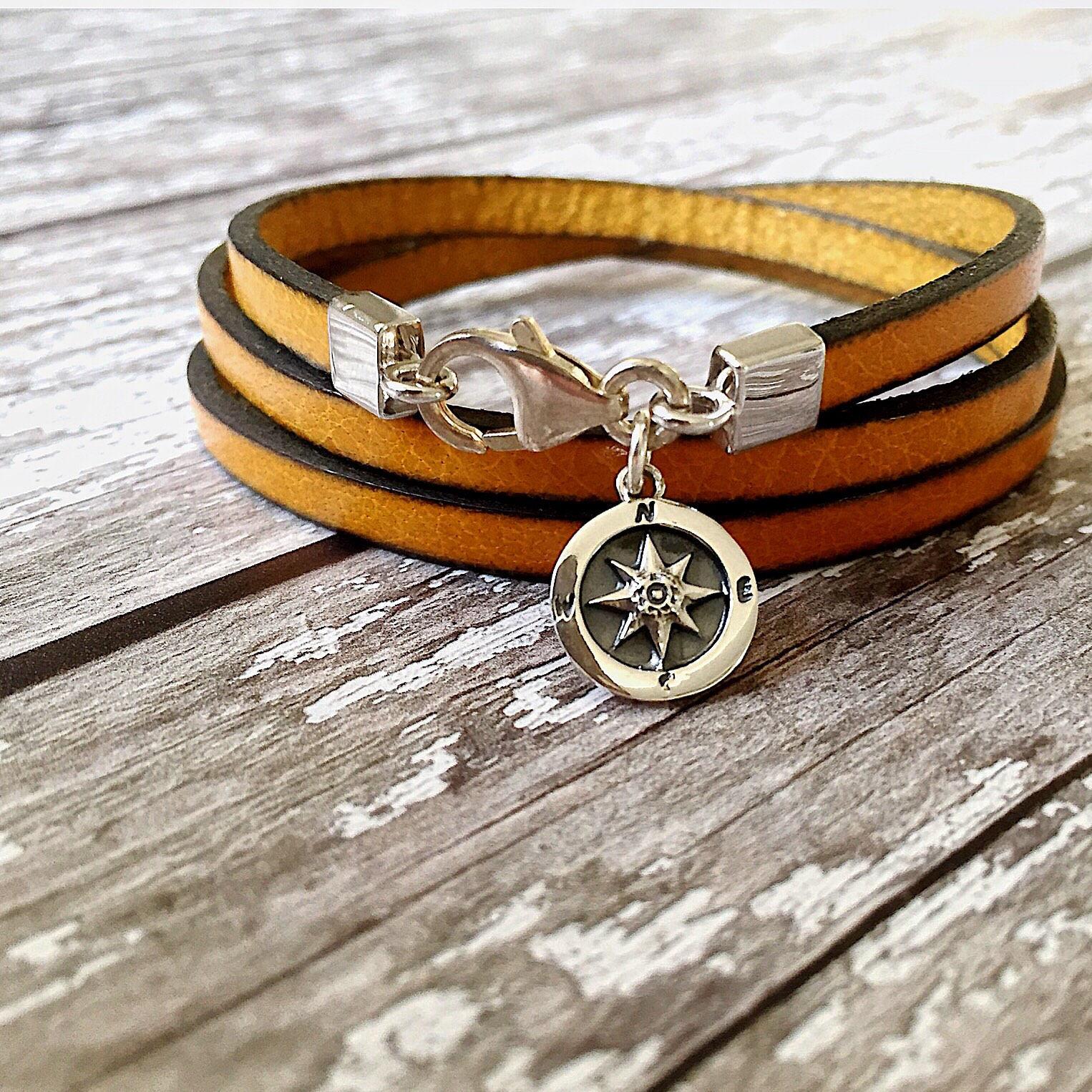 Compass Leather Bracelet