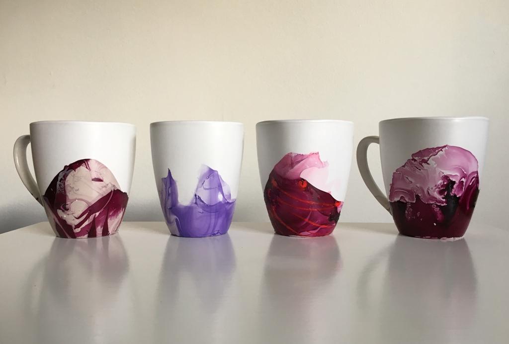 Marble dipped mugs