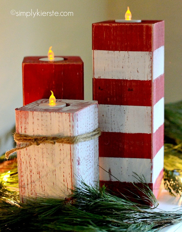 Peppermint Striped Candlesticks