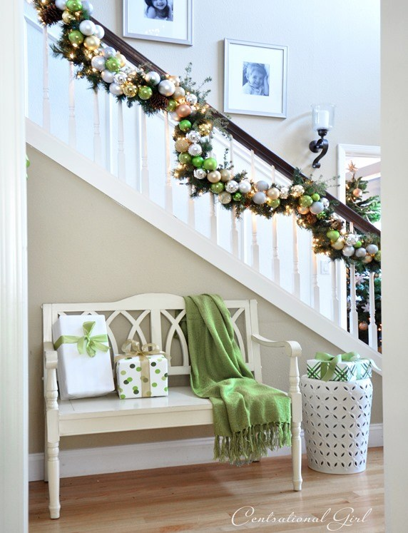 Staircase with Ornaments Garland