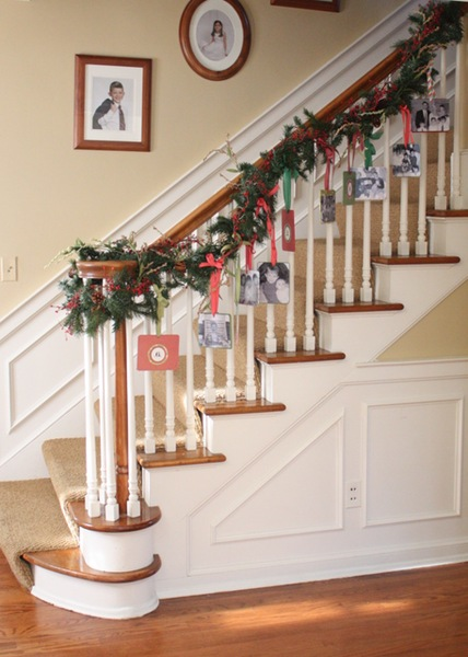 Christmas Card Display on Stairs