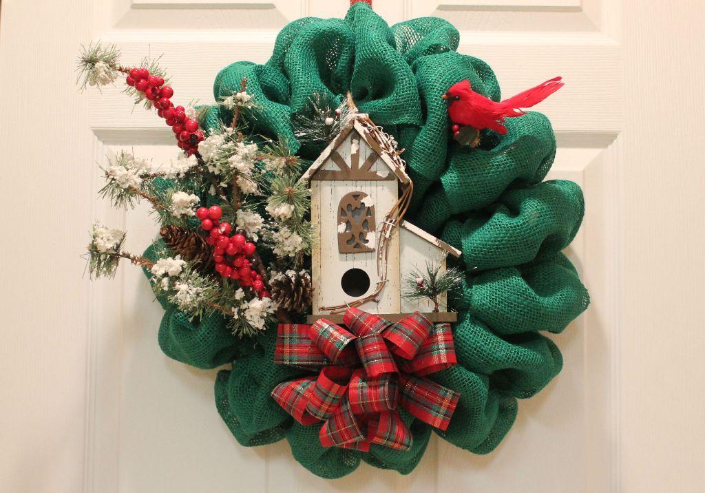 Burlap Wreath With Bird House