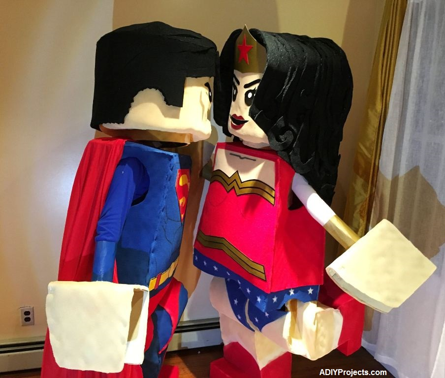 Romantic LEGO Superman and Wonder Woman Couple Halloween Costumes